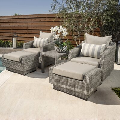 Alfonso 5 Piece Seating Group with Cushions Fabric: Slate Grey