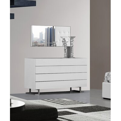 Clower 4 Drawer Bedroom Dresser Color: White