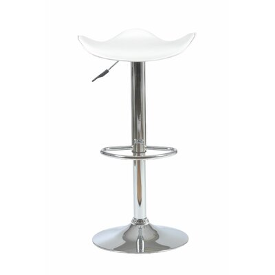 Delilah Adjustable Height Swivel Bar Stool Upholstery: White