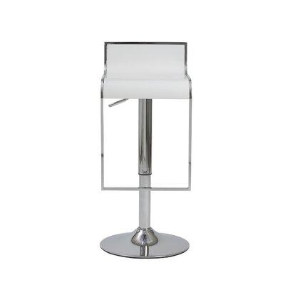 Oberlin Adjustable Height Swivel Bar Stool Upholstery: White