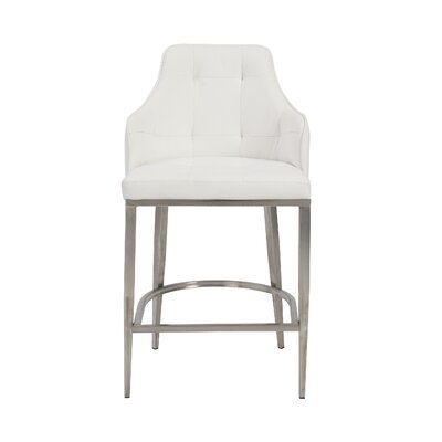 Aurianna Bar Stool Upholstery: White
