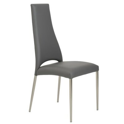 Maui Genuine Leather Upholstered Dining Chair Upholstery: Gray