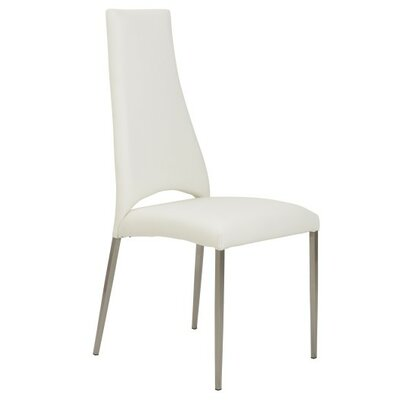 Maui Genuine Leather Upholstered Dining Chair Upholstery: White