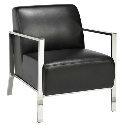 Evangeline Stainless Steel Frame Arm Chair Upholstery: Black