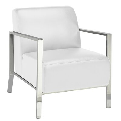 Evangeline Stainless Steel Frame Arm Chair Upholstery: White