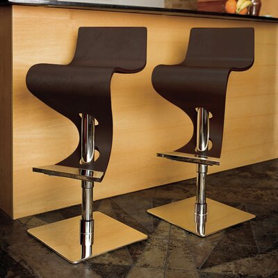 The Adjustable Height Swivel Bar Stool Finish: Dark Brown