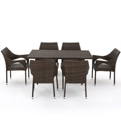 Gia Outdoor Wicker 7 Piece Dining Set