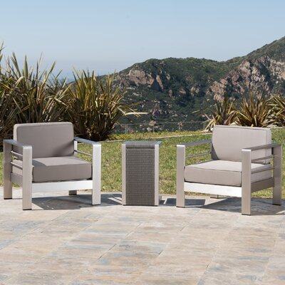 Kit Outdoor 3 Piece Lounge Seating Group with Cushion
