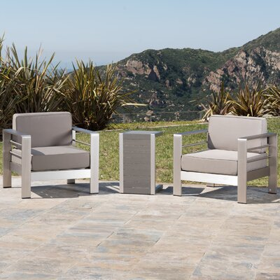 Kit Outdoor Aluminum 3 Piece Lounge Seating Group with Cushion Frame Finish: Silver