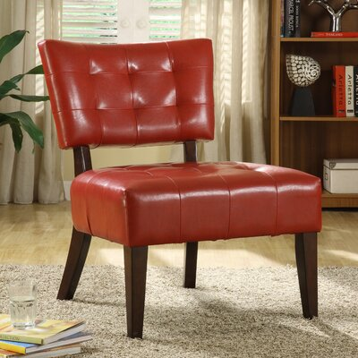 Wanless Vinyl Slipper Chair Color: Red