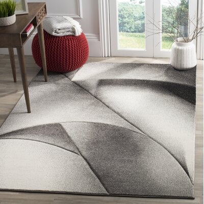 Anne Gray/Dark Gray Area Rug Rug Size: 53 x 76