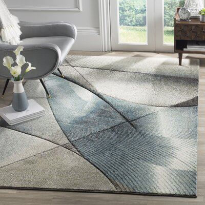 Anne Gray/Teal Area Rug Rug Size: Rectangle 9 x 12