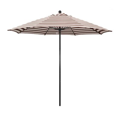 9 Lawrence Hill Market Umbrella Fabric: Olefin - Brick White Cabana Stripe
