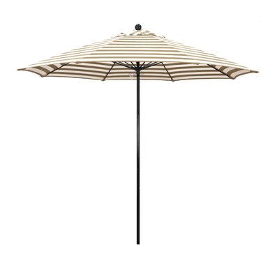 9 Lawrence Hill Market Umbrella Fabric: Olefin - Beige White Cabana Stripe