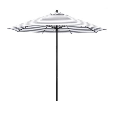 9 Lawrence Hill Market Umbrella Fabric: Olefin - Gray White Cabana Stripe