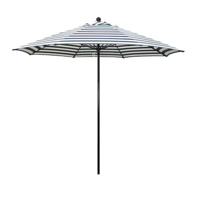 9 Lawrence Hill Market Umbrella Fabric: Olefin - Navy White Cabana Stripe