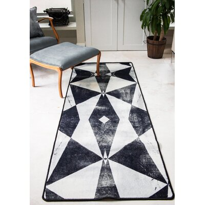 Ruthie Fuel White/Black Area Rug
