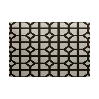 Estelle Dont Fret Geometric Print Dark Brown Indoor/Outdoor Area Rug Rug Size: 2 x 3