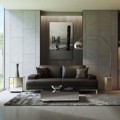 Angeline Leather Sofa Upholstery: Black