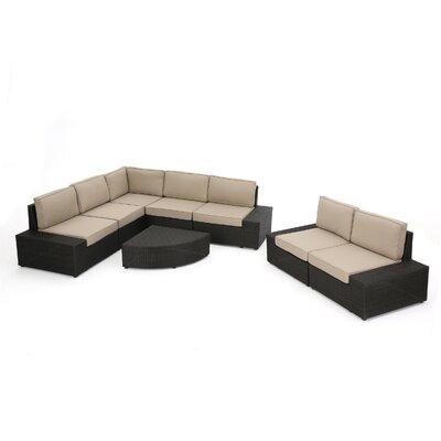 Rosanna Wicker 8 Piece Deep Seating Group with Cushion Fabric: Dark Brown