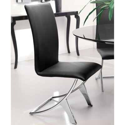 Ashwood Leatherette Parsons Chair Upholstery: Black