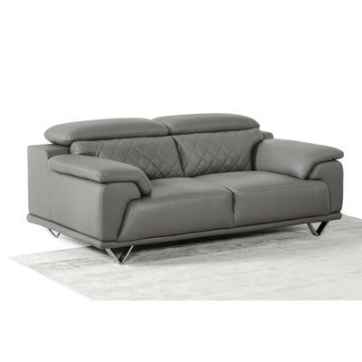 Sirena Gray Leather Sofa Set
