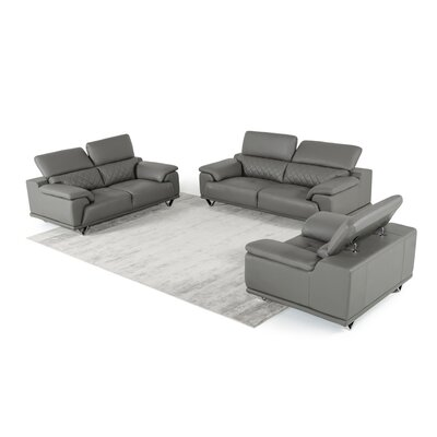 Cardinale 3 Piece Leather Living Room Set