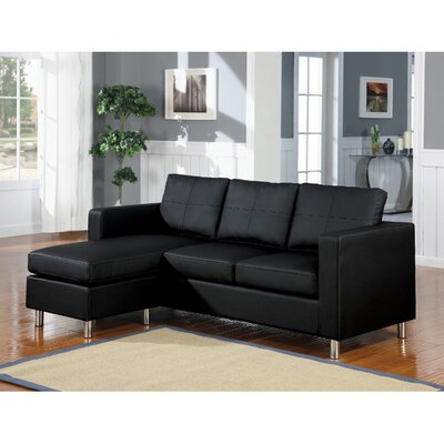 Emmaline Reversible Sectional Upholstery: Black