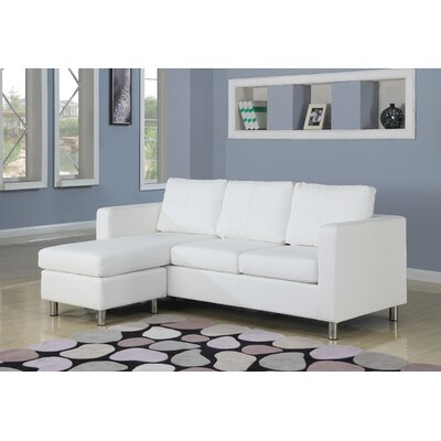 Emmaline Reversible Chaise Sectional Upholstery: White