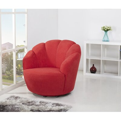 Giovanna Swivel Barrel Chair Upholstery: Scarlet