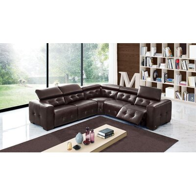 Kylah Leather Sectional Upholstery: Chocolate Brown