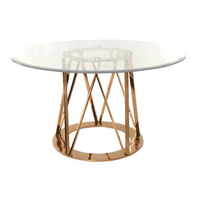 Marlene Round Metal Dining Table Finish: Rose Gold