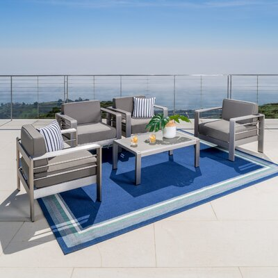 Kit Outdoor 5 Piece Lounge Seating Group with Cushion