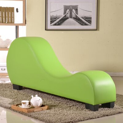 Cristina Faux Leather Stretch Chaise Yoga Chair Color: Green