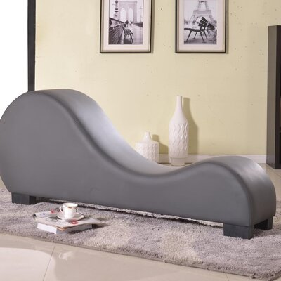 Cristina Faux Leather Stretch Chaise Yoga Chair Color: Grey