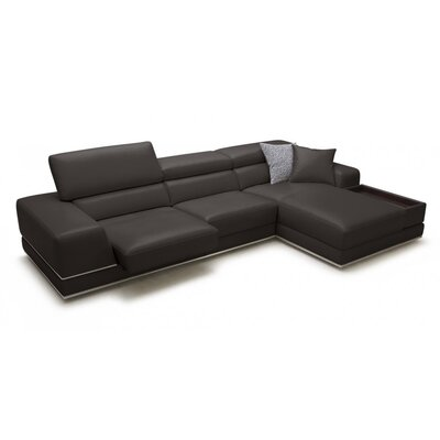 Right Hand Facing Reclining Sectional Upholstery: Brown