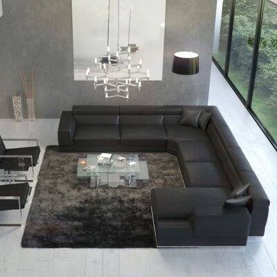 Leather Sectional Upholstery: Black