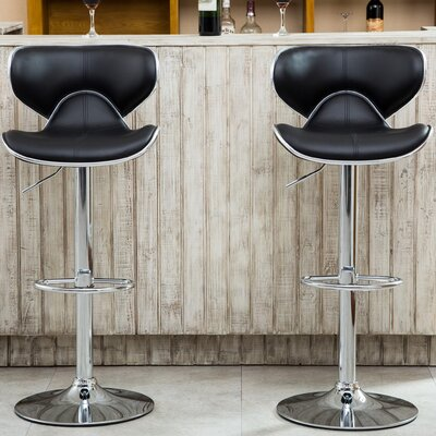Harlow Adjustable Height Swivel bar stools Upholstery: Black