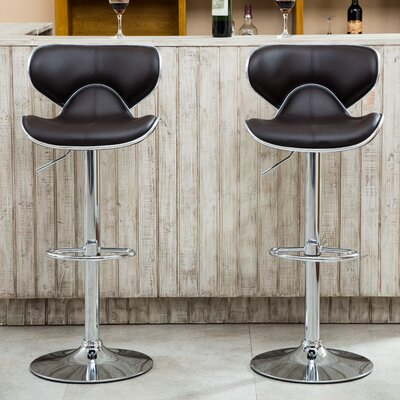 Harlow Adjustable Height Swivel bar stools Upholstery: Brown