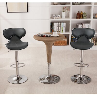 Harlow Adjustable Height Swivel bar stools Upholstery: Gray
