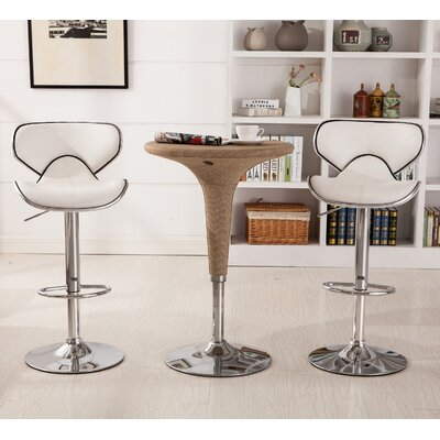 Harlow Adjustable Height Swivel Bar Stool Upholstery: White