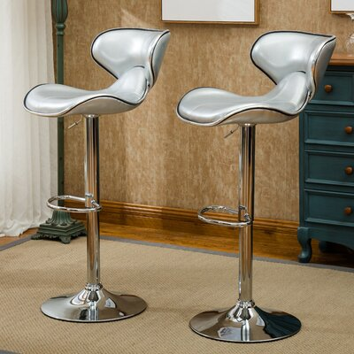 Harlow Adjustable Height Swivel bar stool Upholstery: Silver