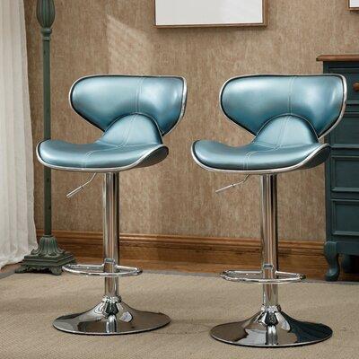 Harlow Adjustable Height Swivel Bar Stool Upholstery: Blue