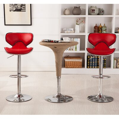 Harlow Adjustable Height Swivel bar stool Upholstery: Red