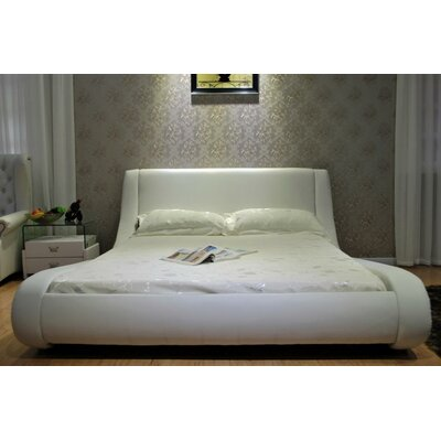Leavitt Upholstered Platform Bed Size: California King, Color: White