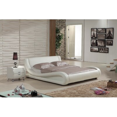 Melrose Upholstered Platform Bed Size: King, Finish: Ivory