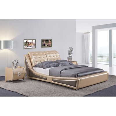 Bosworth Upholstered Platform Bed Size: Queen, Color: Gold