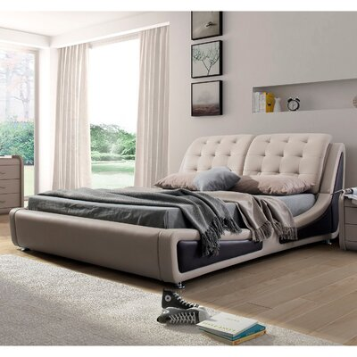 Bosworth Upholstered Platform Bed Size: King, Color: Grey/Brown