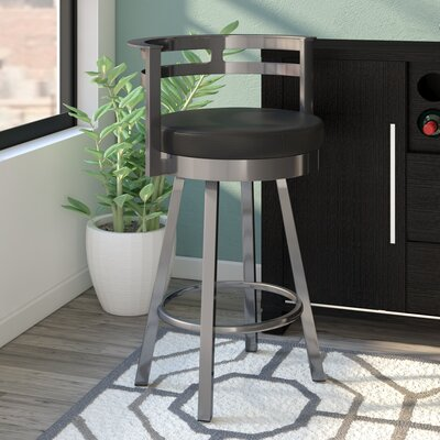 Brookford 26.63 Swivel Bar Stool Finish: Glossy Grey/Matte Charcoal Black
