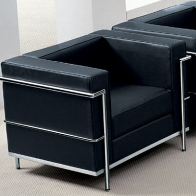 Caster Contemporary Mid-Back Lounge Chair with Encasing Frame Guest Chair Seat Color: Black